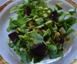 Watercress Salad with Garden Beets, Pin Nuts, Cattail Hearts & Cattail Pollen